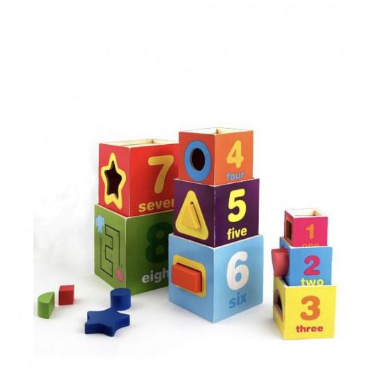Turn 8 Cuburi din lemn cu forme, cifre, animale