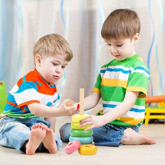 Turn Montessori de stivuire din lemn Rainbow
