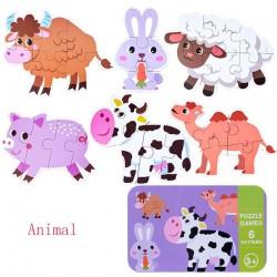 Puzzle in cutie metalica 6 Animale de la ferma