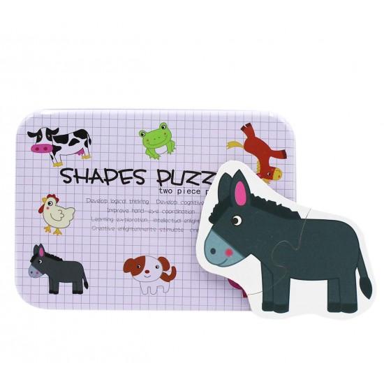 Puzzle 2 piese in cutie metalica  Animale de la Ferma