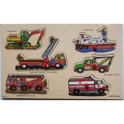 Puzzle din lemn cu pini - Masini de salvare