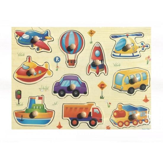 Puzzle Din Lemn Cu Pini - Mijloace de transport