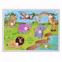 Puzzle Cu Pini Din Lemn Safari