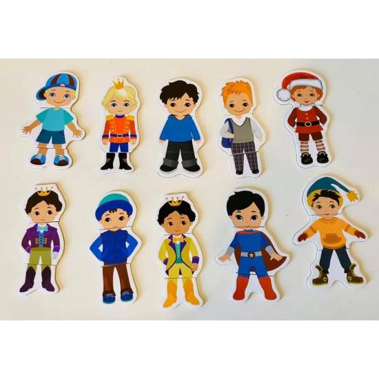 Carte magnetica din lemn - Sa imbracam Copii