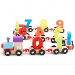 Trenulet din lemn cu numere 0-9