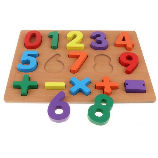 Puzzle Incastru 3D din Lemn cu Cifre si semne