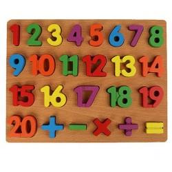Puzzle incastru 3D din lemn cu Cifre 1-20