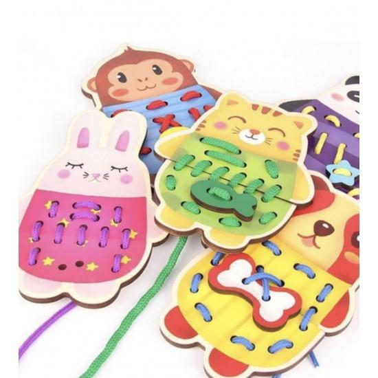Animale de snuruit din lemn Joc Montessori