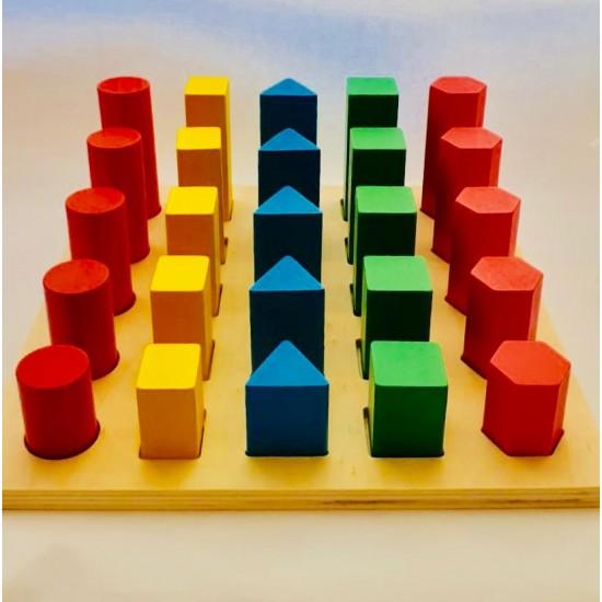 Joc sortator din lemn Montessori - Forme geometrice si marimi