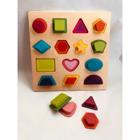 Puzzle lemn in relief Forme geometrice