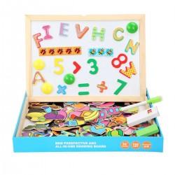 Tablita magnetica educativa din lemn cu cifre, litere, animale si simboluri