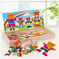 Puzzle lemn - Imbraca ursuletii
