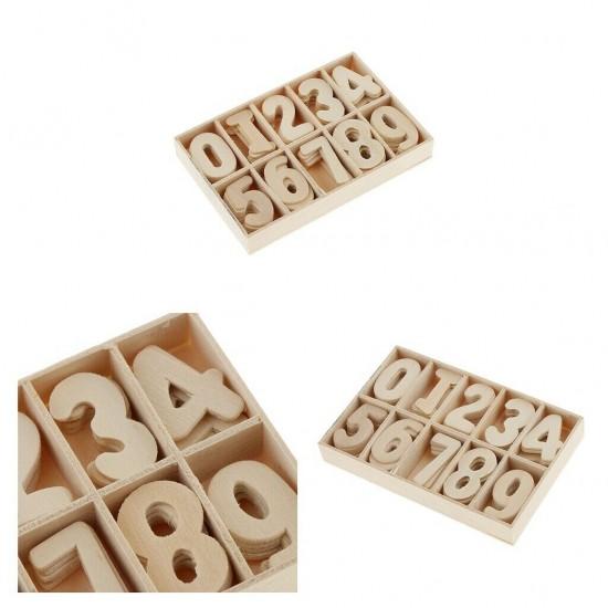 Cifre craft din lemn natur 0-9