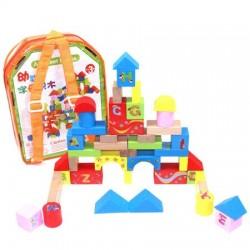 Set cuburi constructie din lemn in ghiozdan