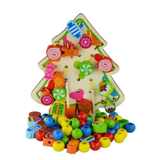 Copac de snuruit din lemn cu ornamente si bomboane