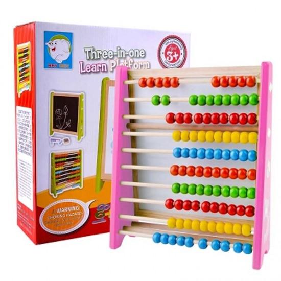 Tabla magnetica din lemn 3 in 1 cu cifre si abac