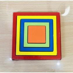 PATRAT - Puzzle 3D Lemn Curcubeu Montessori Forme Si Marimi