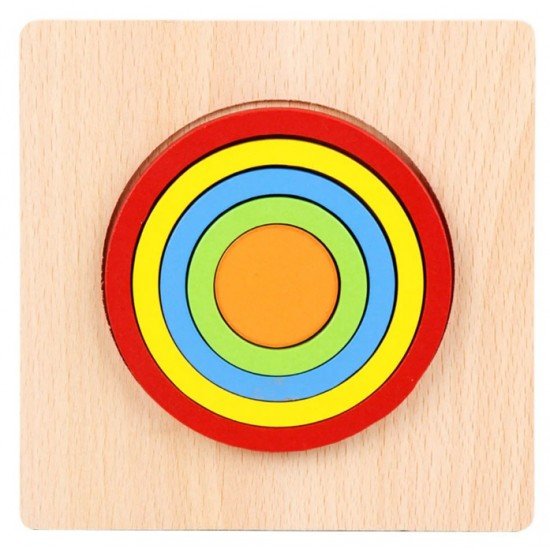 CERC - Puzzle 3D Lemn Curcubeu Montessori Forme Si Marimi
