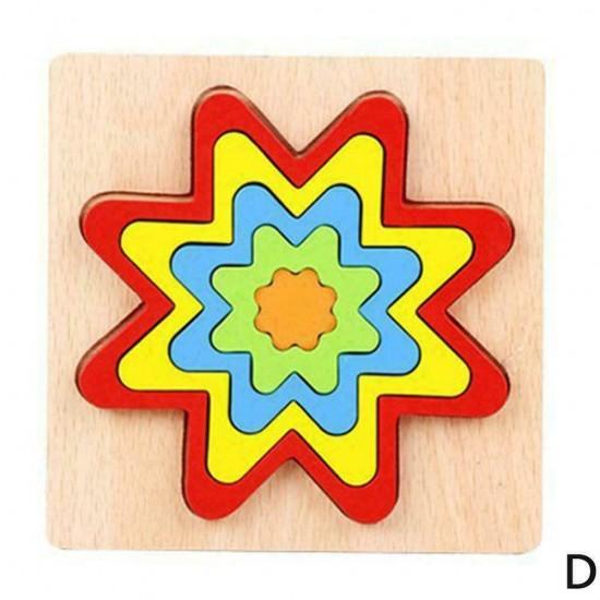 FLOARE- Puzzle 3D Lemn Curcubeu Montessori Forme Si Marimi