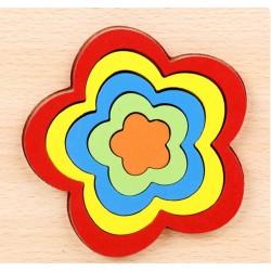 FLOARE - Puzzle 3D Lemn Curcubeu Montessori Forme Si Marimi