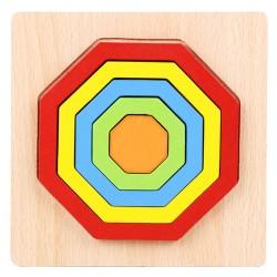 OCTOGON - Puzzle 3D Lemn Curcubeu Montessori Forme Si Marimi