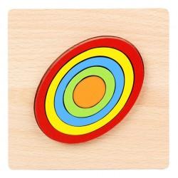 OVAL - Puzzle 3D Lemn Curcubeu Montessori Forme Si Marimi