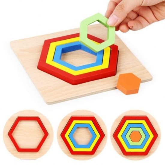 FLOARE 4 petale - Puzzle 3D lemn Curcubeu Montessori forme si marimi