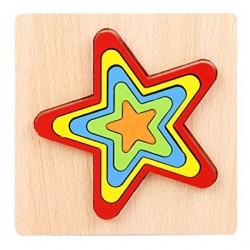 STEA - Puzzle 3D Lemn Curcubeu Montessori Forme Si Marimi