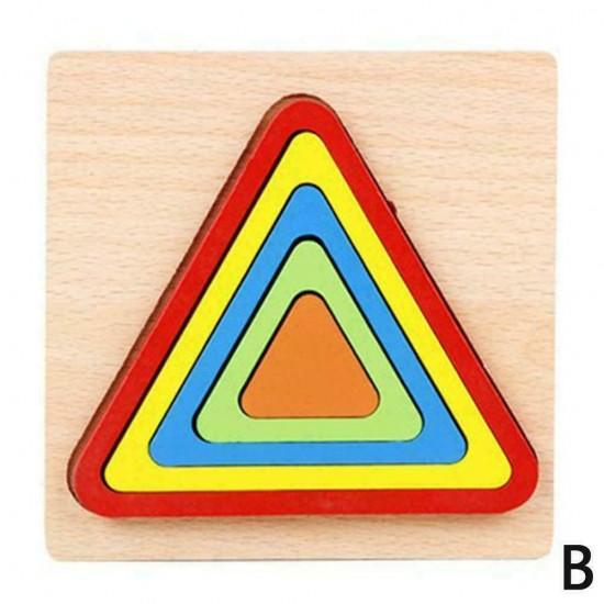 TRIUNGHI - Puzzle 3D Lemn Curcubeu Montessori Forme Si Marimi