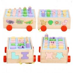 Jucarie de tras din lemn cu sortator numere, forme si animale