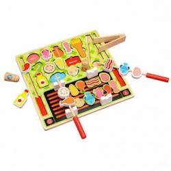 Joc de rol din lemn - Puzzle alimente Gratar