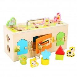 Cutia senzoriala Montessori incuie si descuie