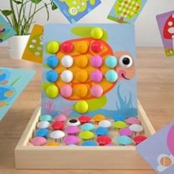 Joc Mozaic Creativ Din Lemn cu Animale