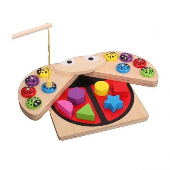 Joc din lemn Montessori - Pescuit si Sortare in forma de Gargarita