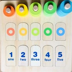 Joc Montessori de numarat si sortator de culori, din lemn