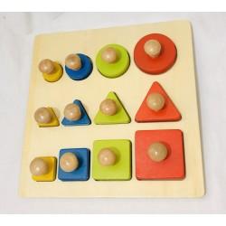 Puzzle incastru Montessori  piese mari din lemn forme geometrice
