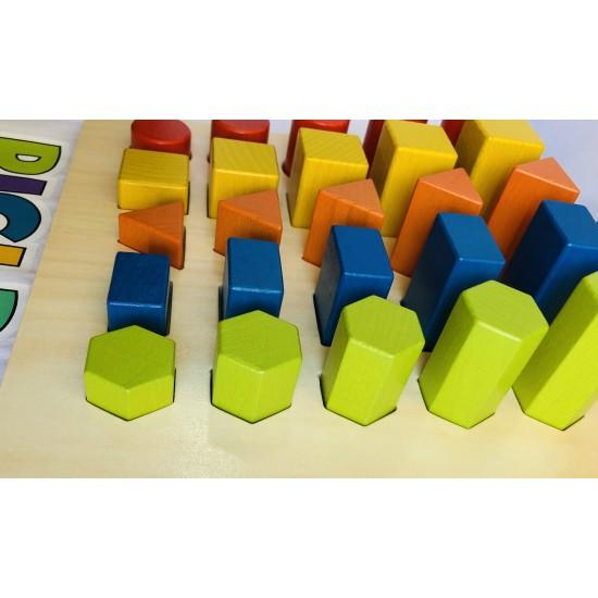 Set 5 forme geometrice din lemn Montessori