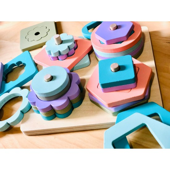 Sortator puzzle pastel din lemn