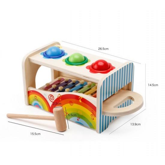 Jucarie Montessori cu ciocan, cile si xilofon din lemn