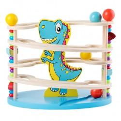 Circuit cu bile din lemn- Dinozaurul zambaret