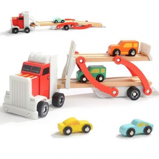 Jucarie din lemn - Camion cu platforma si masinute Topbright