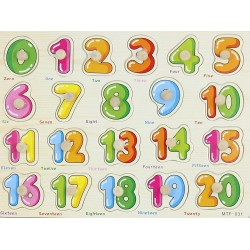 Cifre 0-20 Puzzle din lemn cu pin