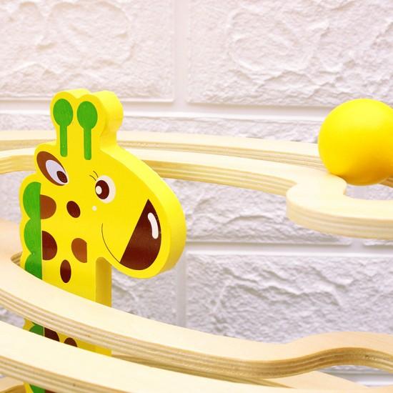 Circuit cu bile din lemn Girafa