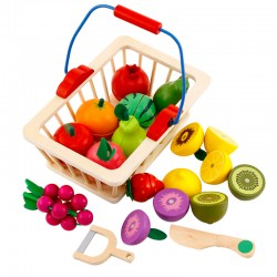 Set Fructe magnetice din lemn de feliat in cosulet