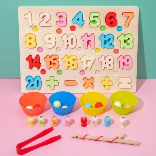 Joc lemn 3 in 1 Cifre Fishing Bead Game