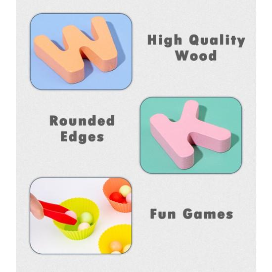 Joc lemn 3 in 1 Alfabet Fishing Bead Game