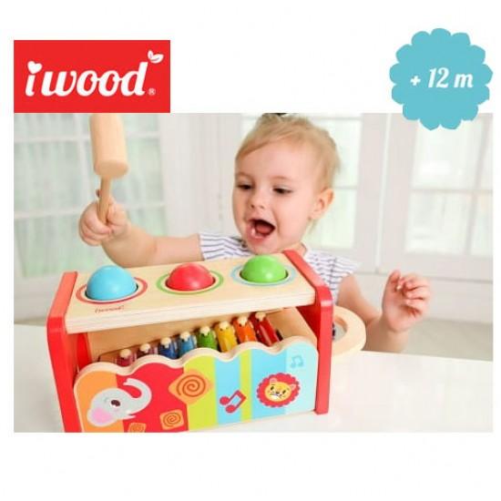 Iwood Premium - Jucarie Montessori cu ciocanel, bile si xilofon