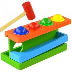 Circuit din lemn cu bile colorate si ciocanel