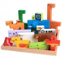 Joc creativ 3D tetris cu animale din lemn