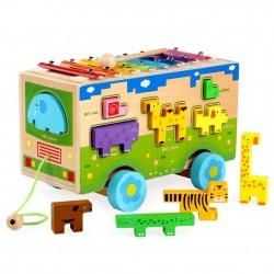 Jucarie de tras din lemn Autobuz cu xilofon si animale